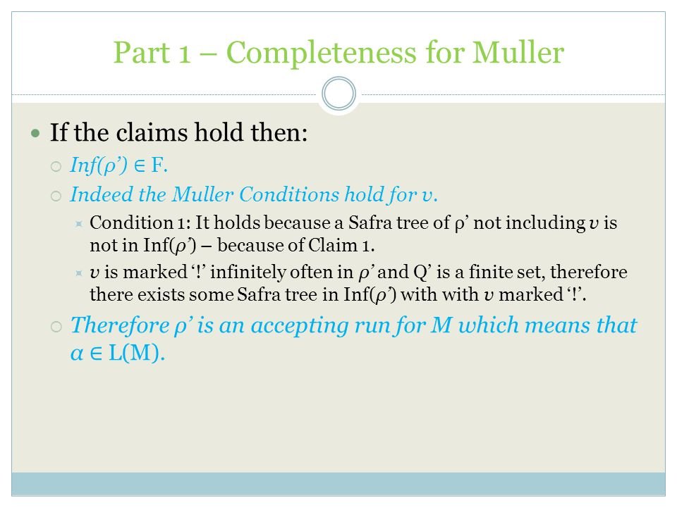 Part 1 – Completeness for Muller