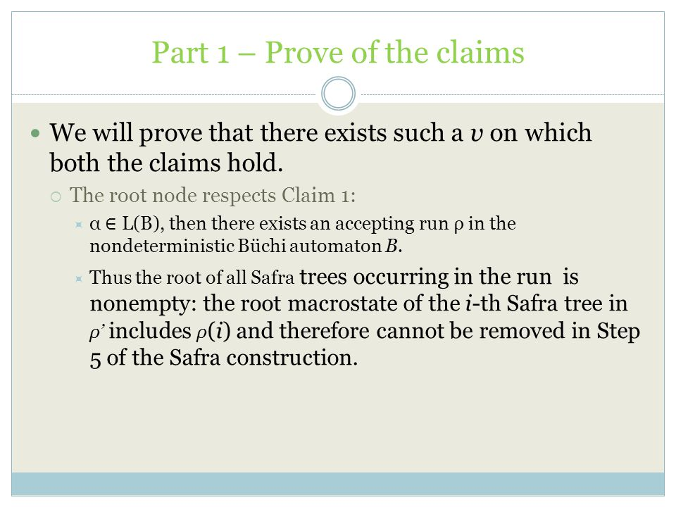 Part 1 – Prove of the claims