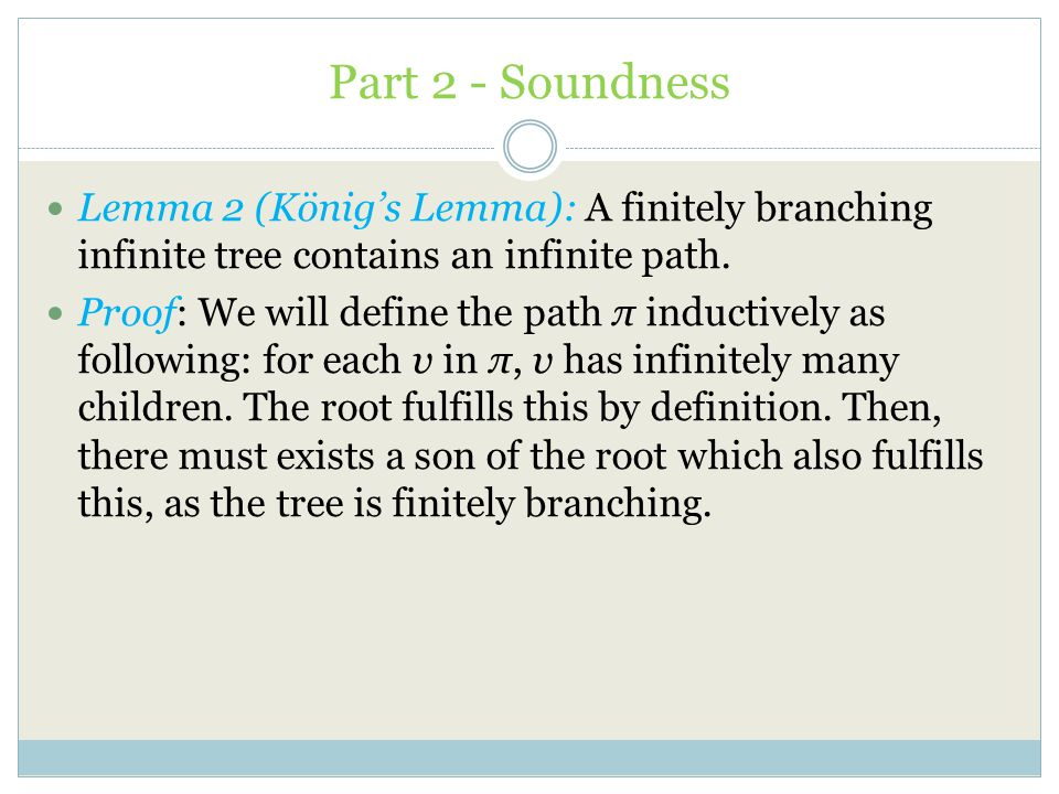 Part 2 - Soundness Lemma 2 (König's Lemma): A finitely branching infinite tree contains an infinite path.