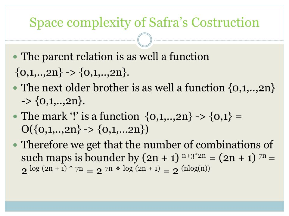 Space complexity of Safra's Costruction