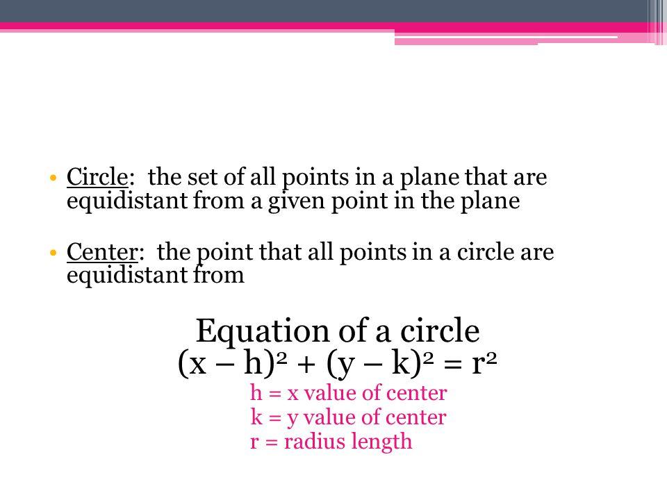 Equation of a circle (x – h)2 + (y – k)2 = r2