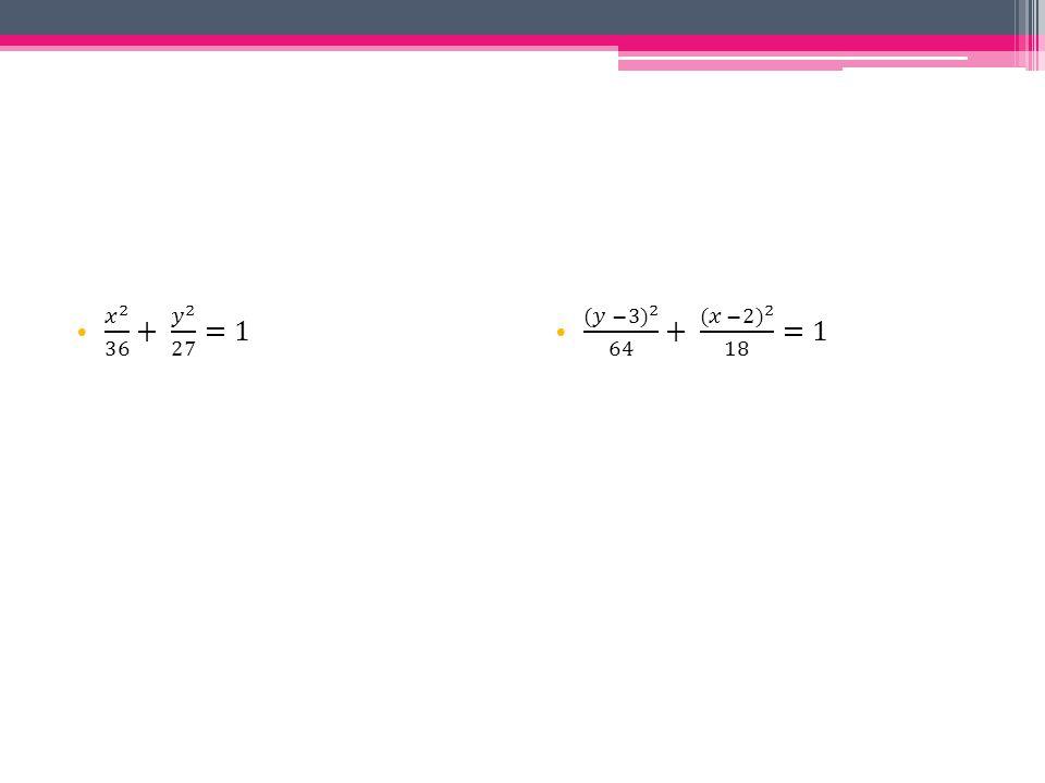 𝑥 2 36 + 𝑦 2 27 =1 (𝑦 −3) 2 64 + (𝑥 −2) 2 18 =1