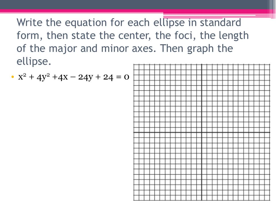 Write the equation for each ellipse in standard form, then state the center, the foci, the length of the major and minor axes. Then graph the ellipse.