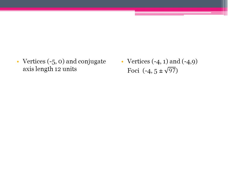 Vertices (-5, 0) and conjugate axis length 12 units