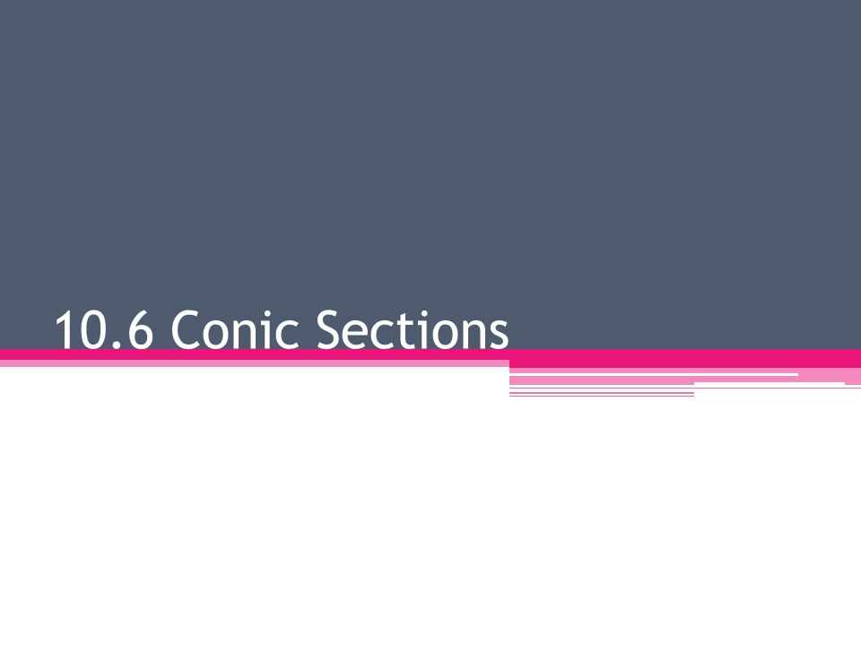 10.6 Conic Sections