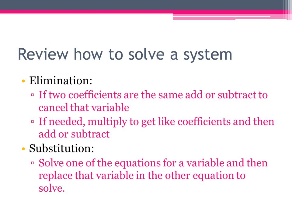 Review how to solve a system