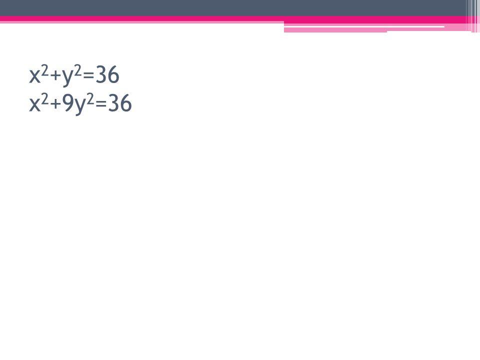 x2+y2=36 x2+9y2=36