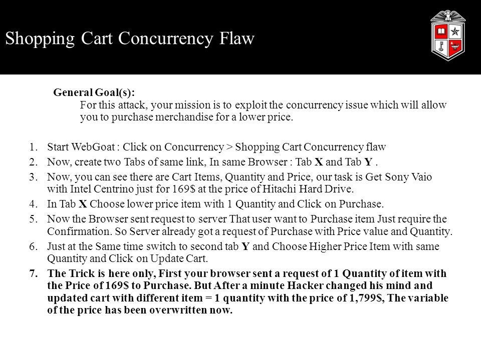 Shopping Cart Concurrency Flaw