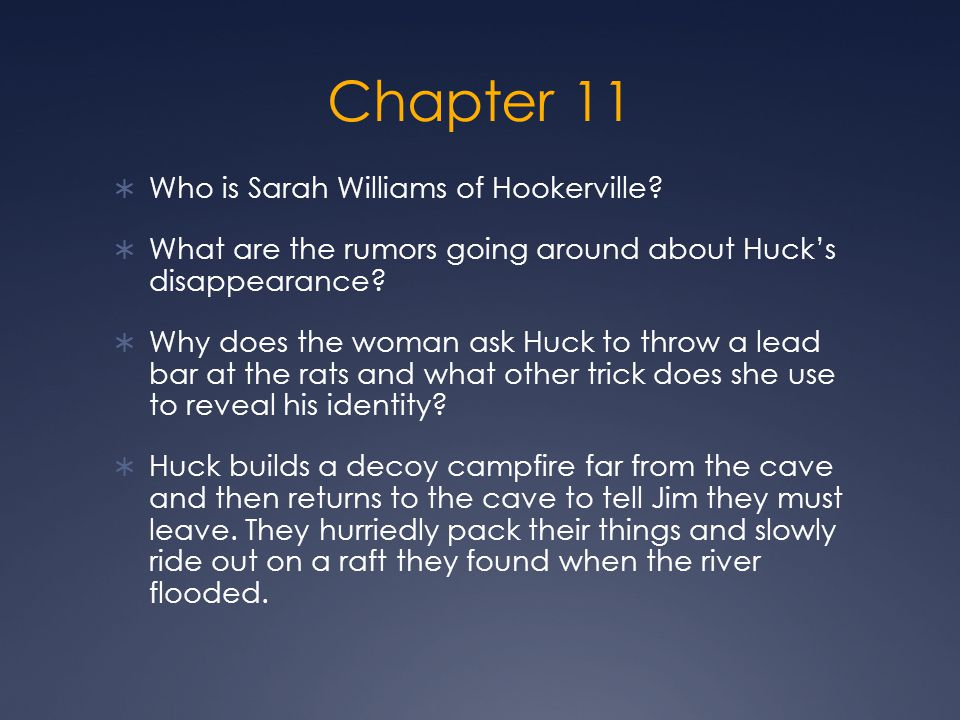 Chapter 11 Who is Sarah Williams of Hookerville