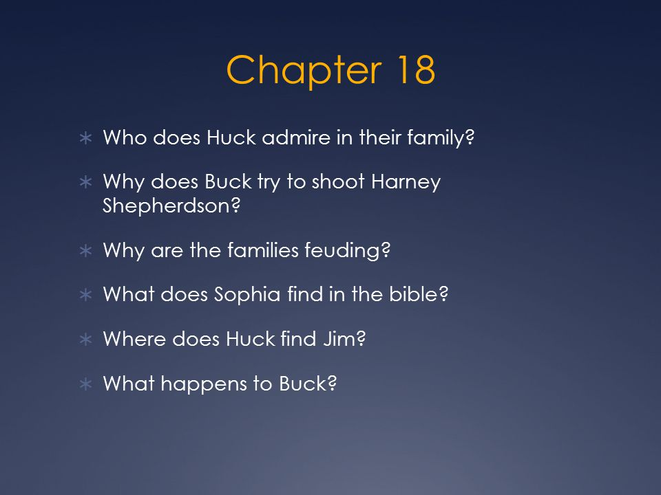 Chapter 18 Who does Huck admire in their family