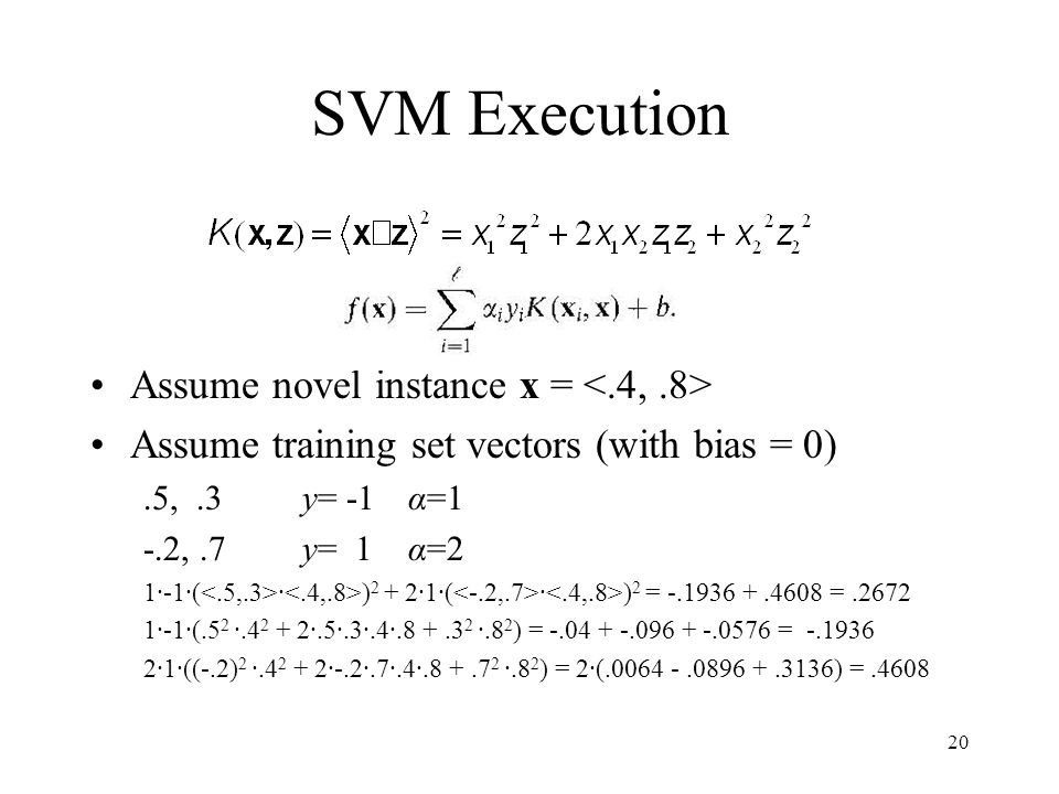SVM Execution Assume novel instance x = <.4, .8>
