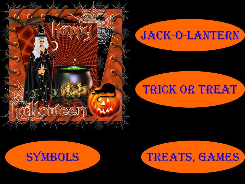 Jack-o-lantern Trick or treat symbols treats, games