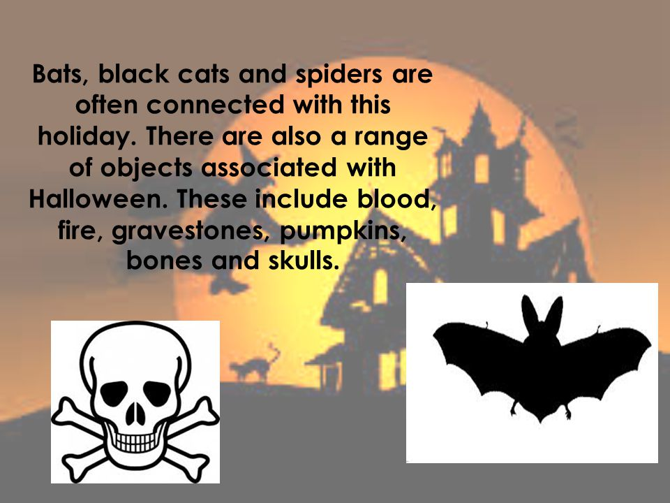 Bats, black cats and spiders are often connected with this holiday