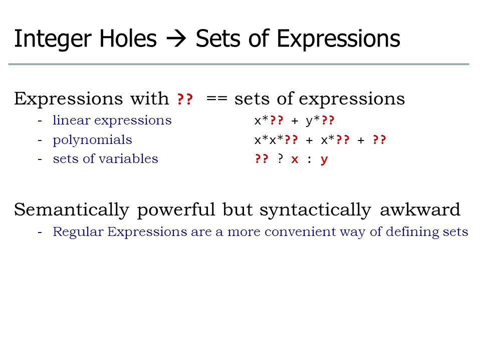 Integer Holes  Sets of Expressions