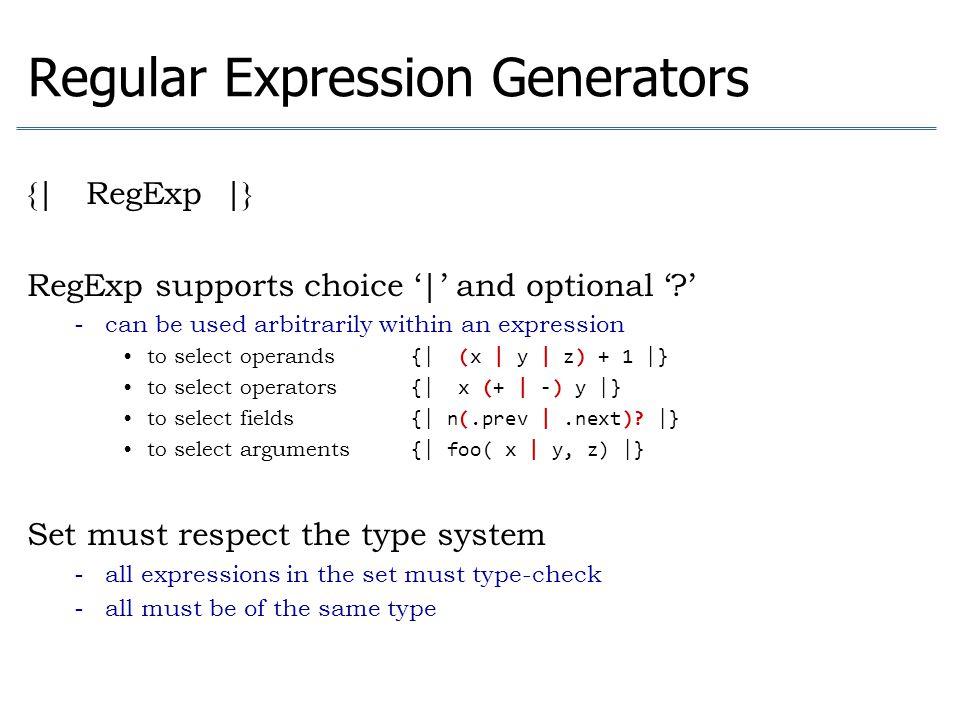 Regular Expression Generators