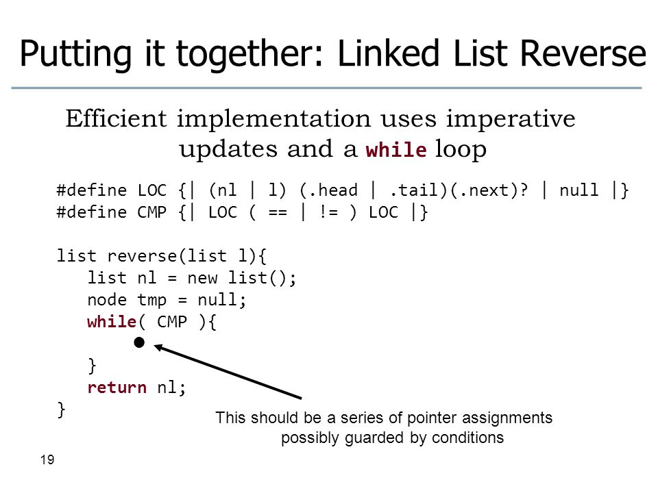 Putting it together: Linked List Reverse