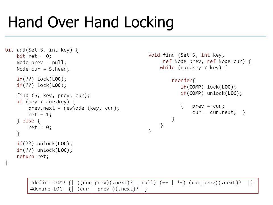 Hand Over Hand Locking bit add(Set S, int key) { bit ret = 0;