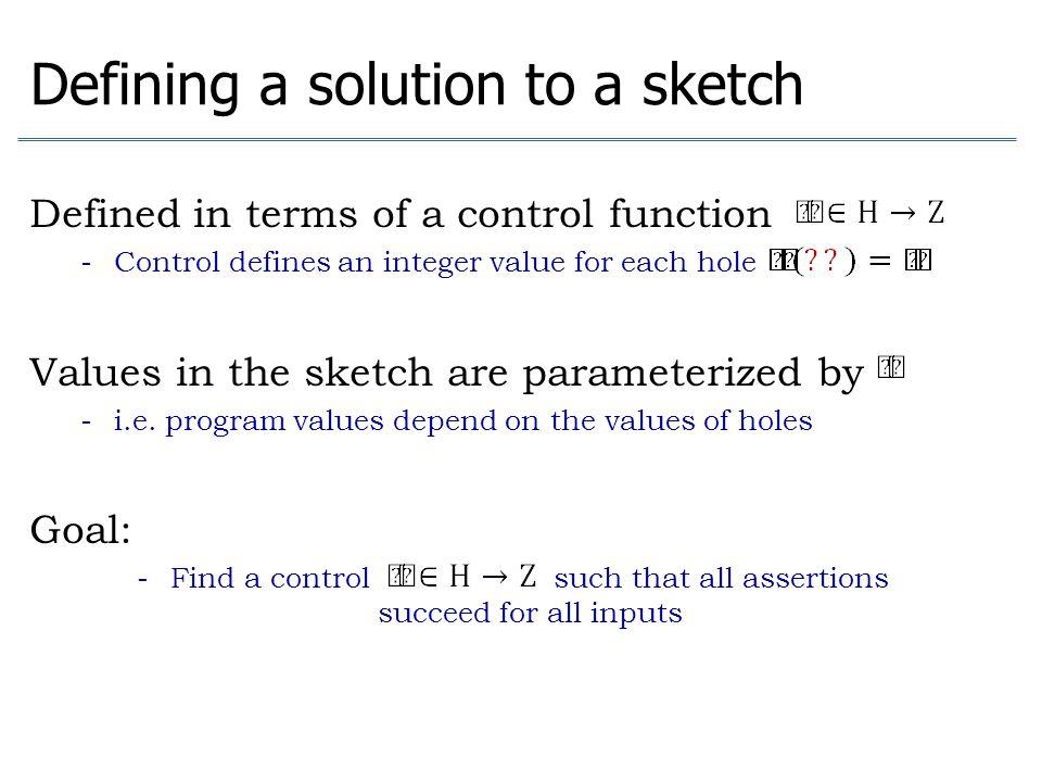 Defining a solution to a sketch