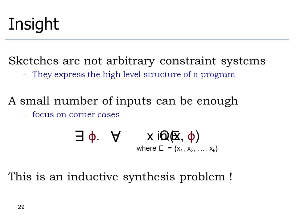 Insight Sketches are not arbitrary constraint systems. They express the high level structure of a program.