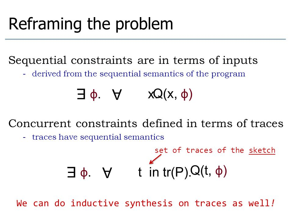 Reframing the problem E A E A φ. x. Q(x, φ) φ. t in tr(P). Q(t, φ)