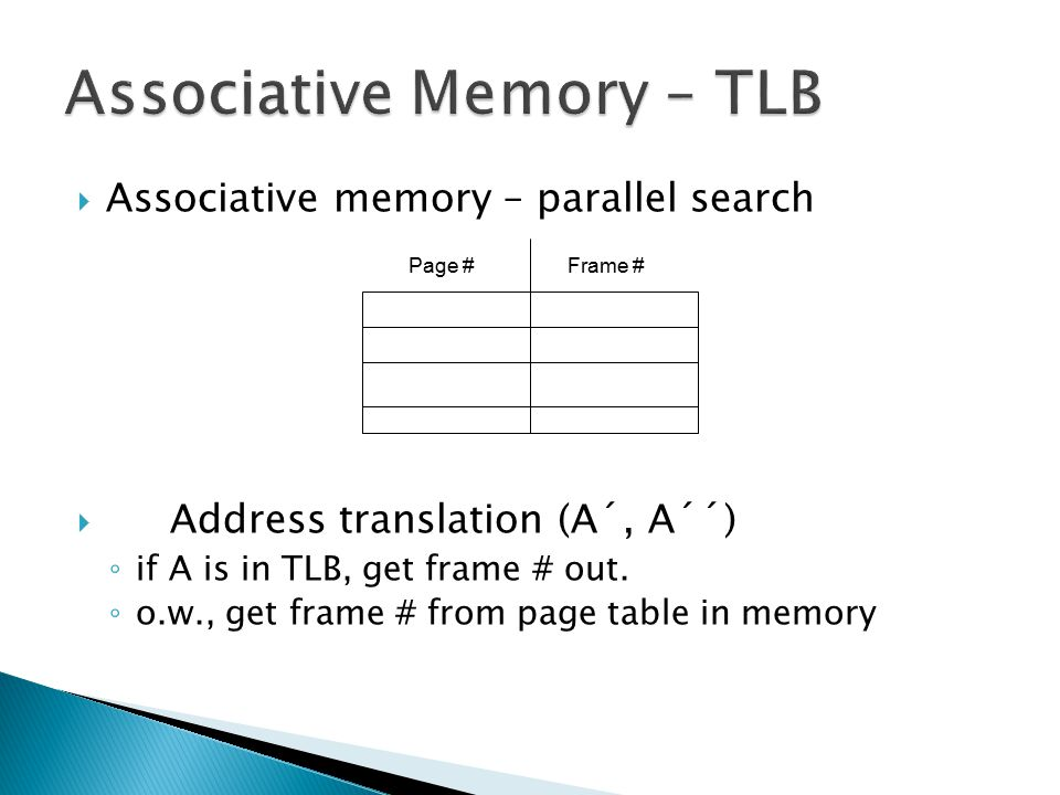 Associative Memory – TLB