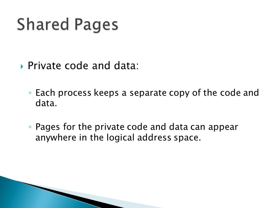 Shared Pages Private code and data: