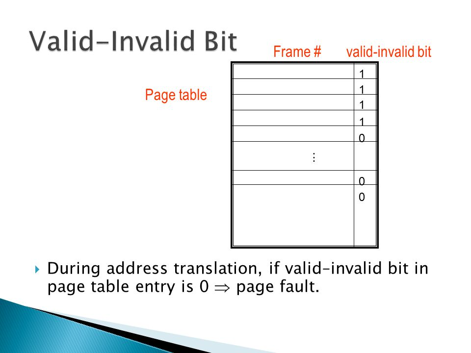 Valid-Invalid Bit Frame # valid-invalid bit. 1. During address translation, if valid–invalid bit in page table entry is 0  page fault.