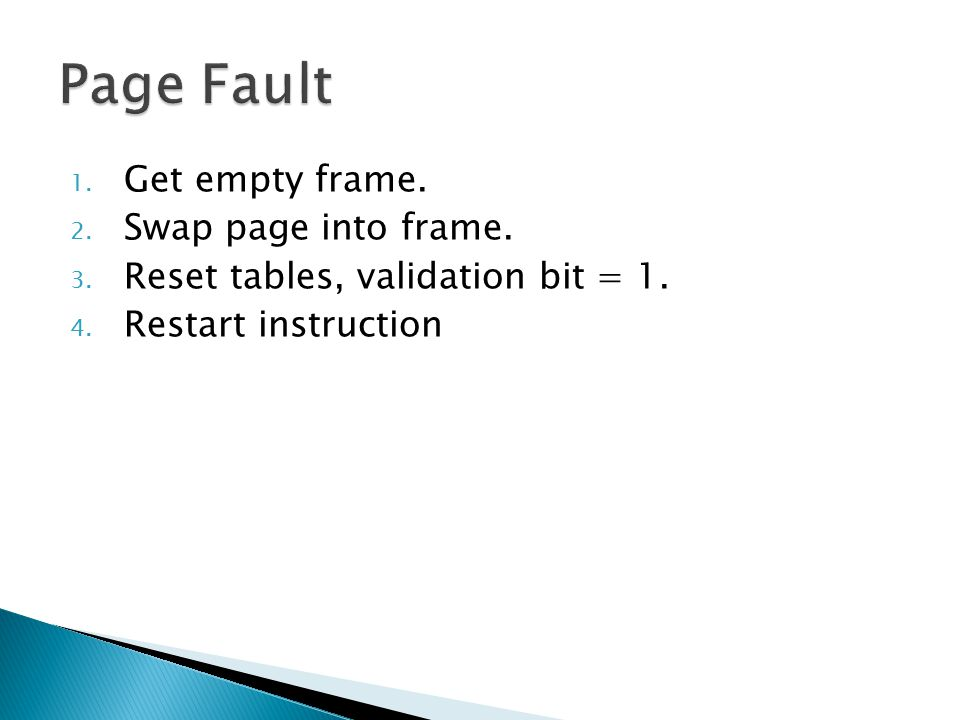 Page Fault Get empty frame. Swap page into frame.
