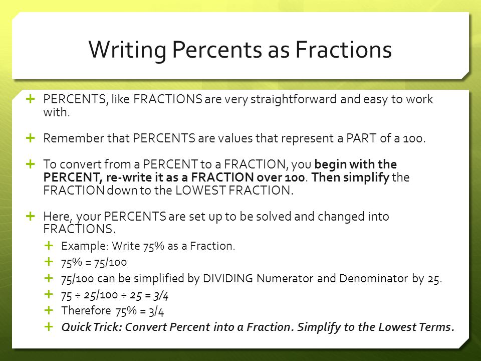 Convert Percents to Fractions