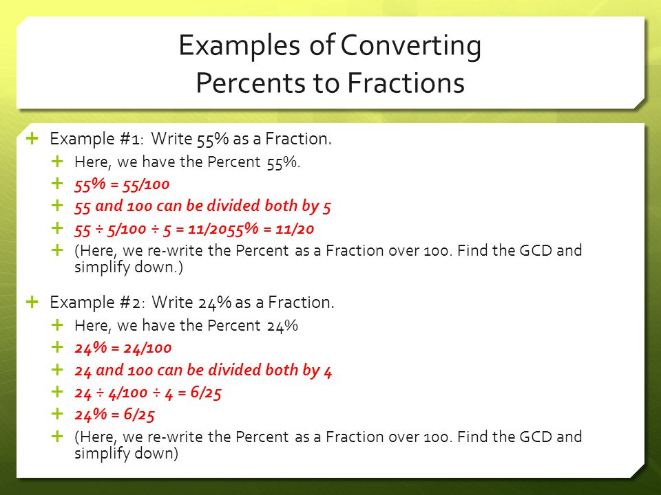 Examples of Converting Percents to Fractions
