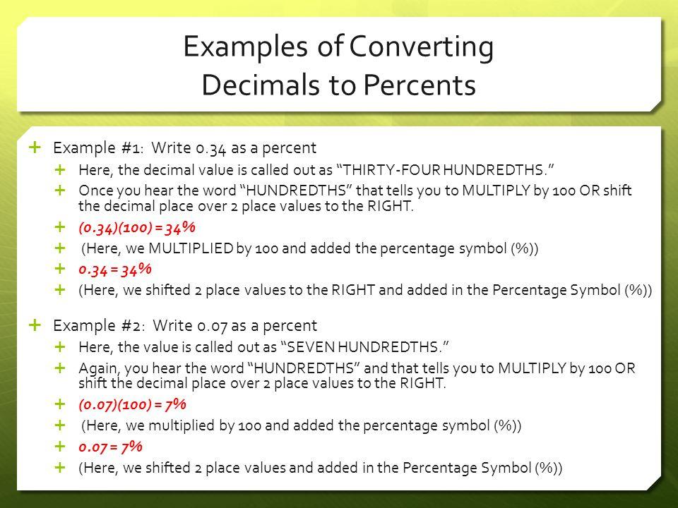 Examples of Converting Decimals to Percents