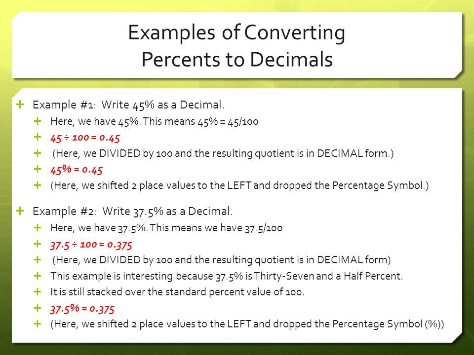 Examples of Converting Percents to Decimals