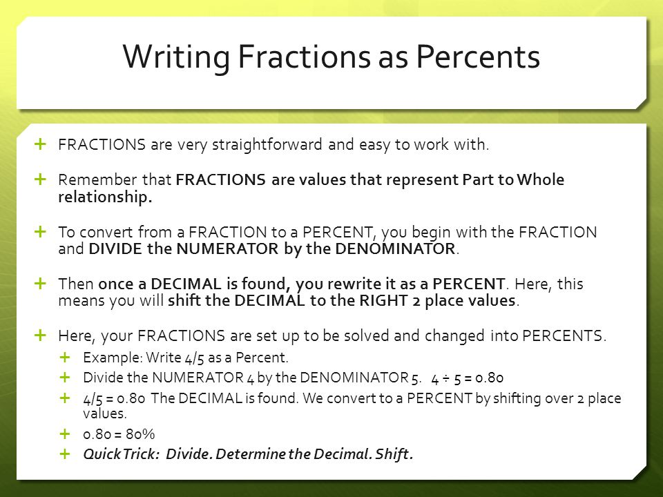Writing Fractions as Percents