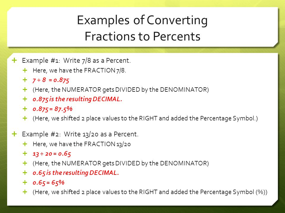 Examples of Converting Fractions to Percents