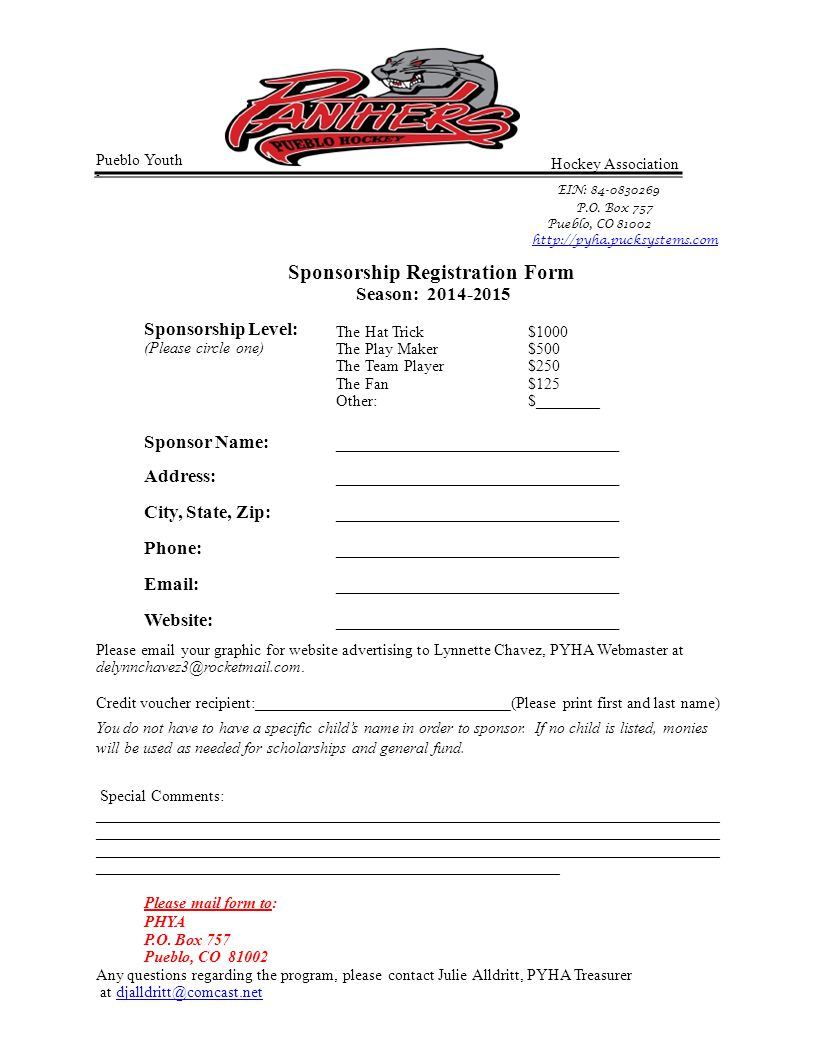 Hockey Association EIN: 84-0830269 P.O. Box 757 Pueblo, CO 81002