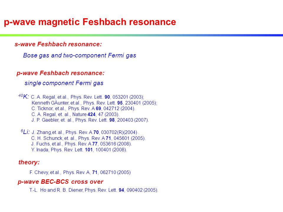 s-wave Feshbach resonance: p-wave Feshbach resonance: