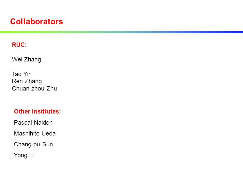 Collaborators RUC: Wei Zhang Tao Yin Ren Zhang Chuan-zhou Zhu