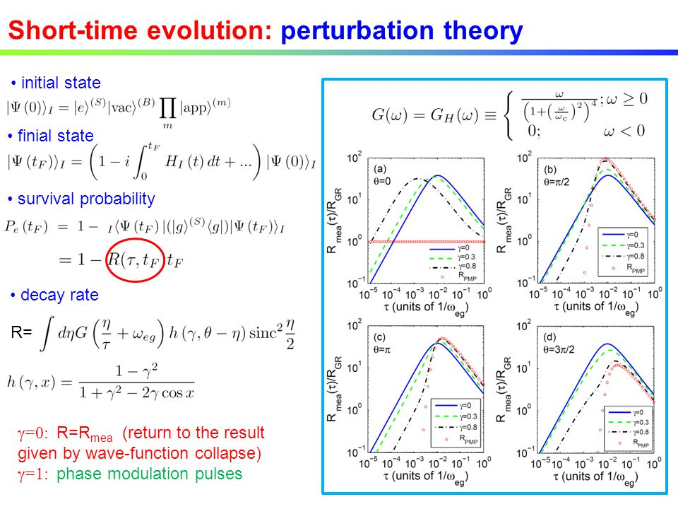 Short-time evolution: perturbation theory