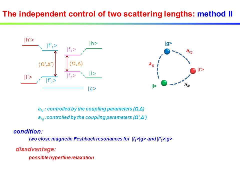 The independent control of two scattering lengths: method II