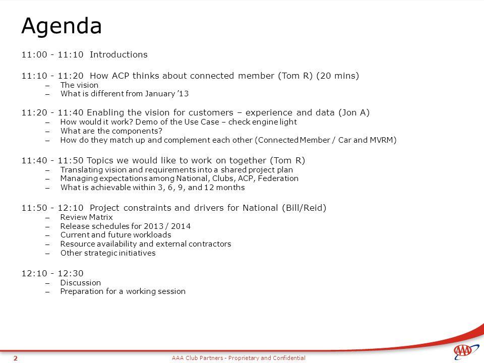 Agenda 11:00 - 11:10 Introductions
