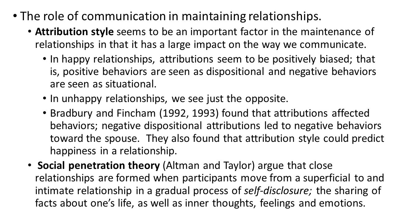The role of communication in maintaining relationships.