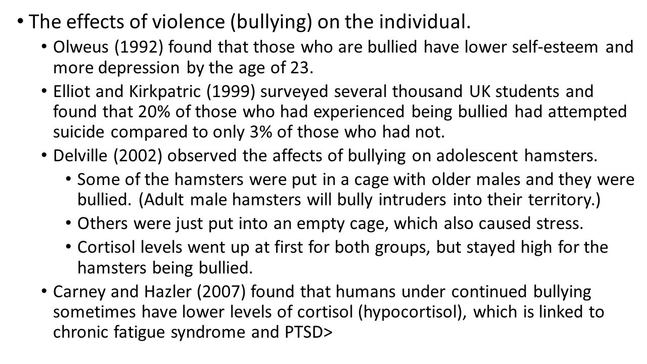 The effects of violence (bullying) on the individual.