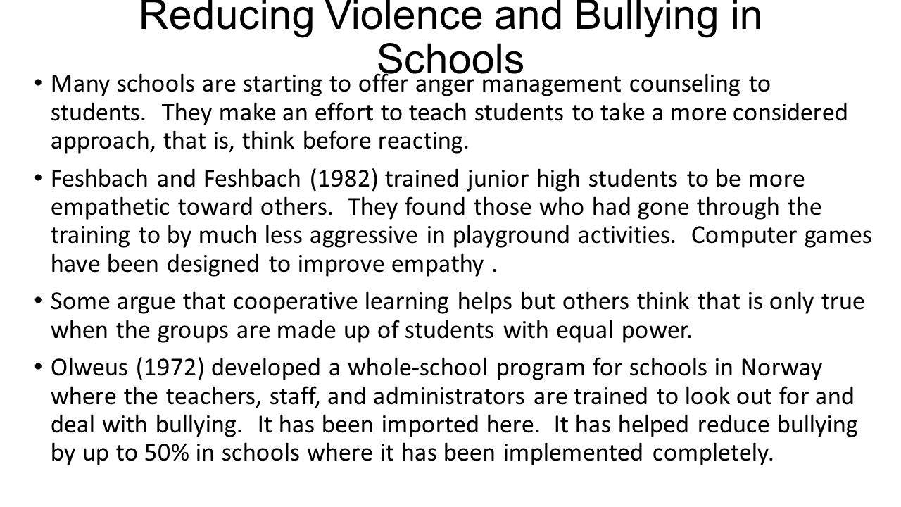 Reducing Violence and Bullying in Schools