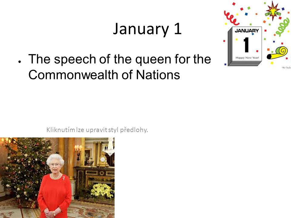 January 1 The speech of the queen for the Commonwealth of Nations