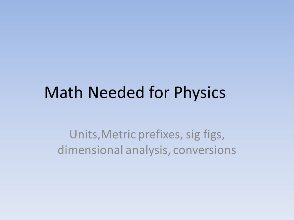 Math Needed for Physics
