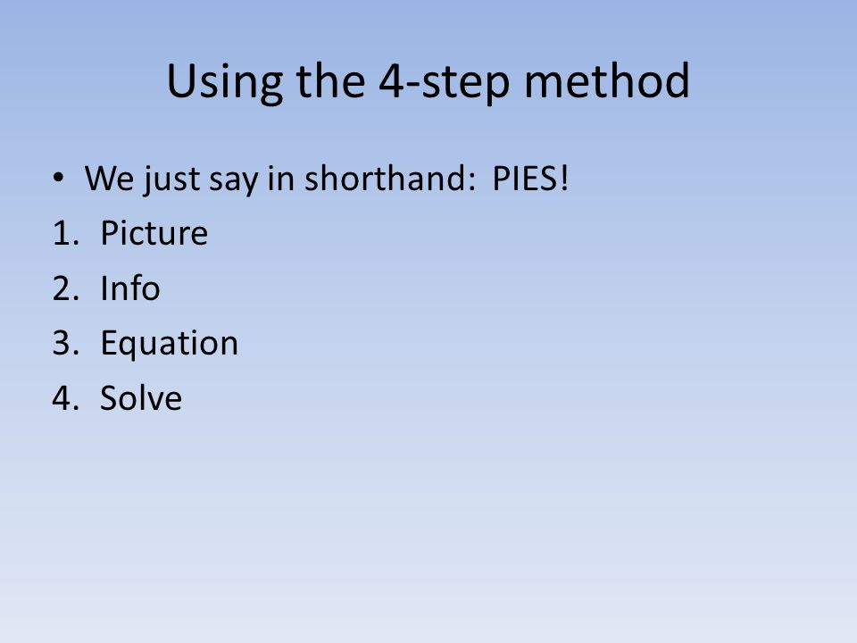 Using the 4-step method We just say in shorthand: PIES! Picture Info