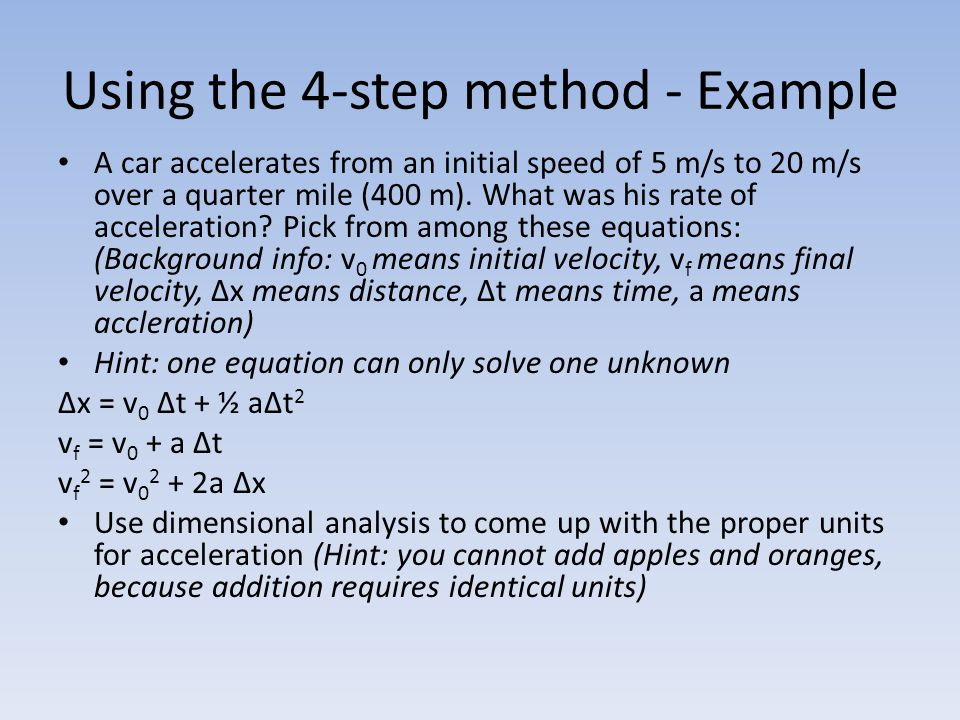 Using the 4-step method - Example