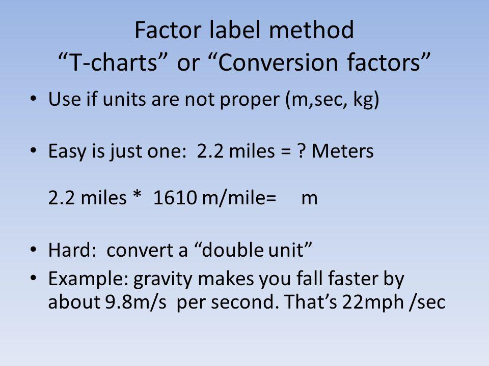 Factor label method T-charts or Conversion factors