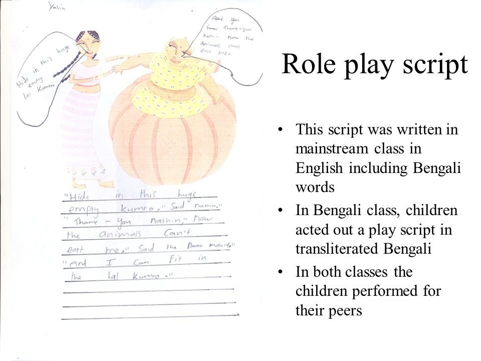 Role play script This script was written in mainstream class in English including Bengali words.