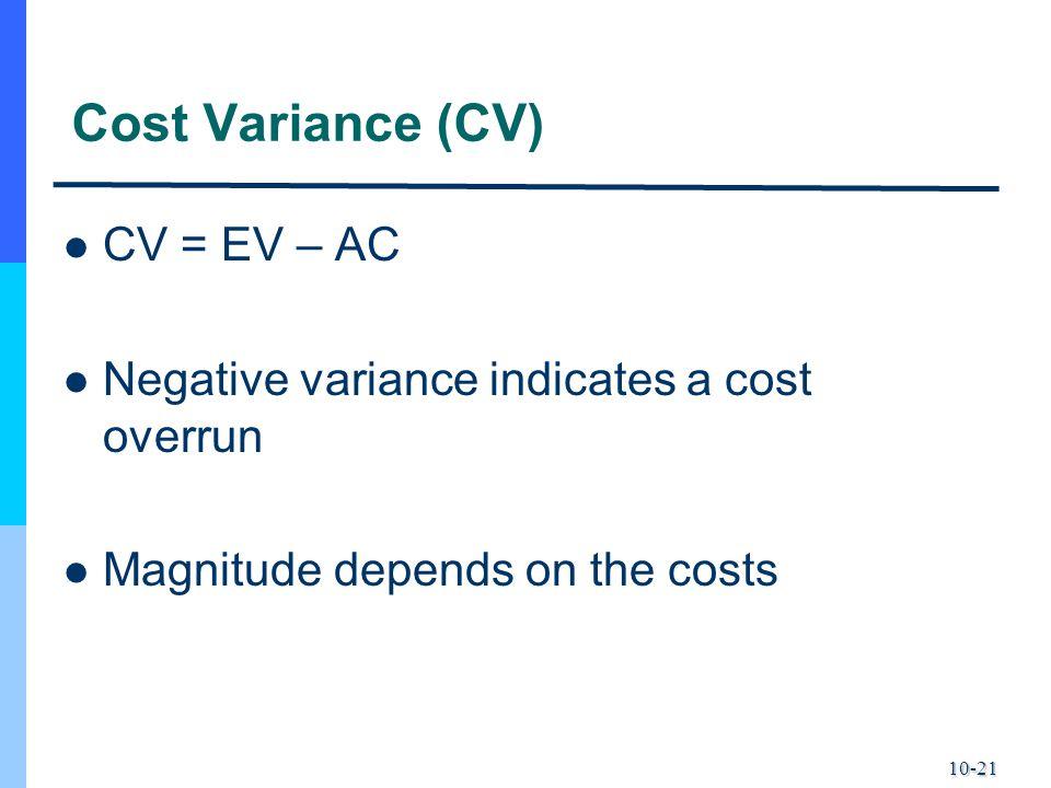 Cost Variance (CV) CV = EV – AC